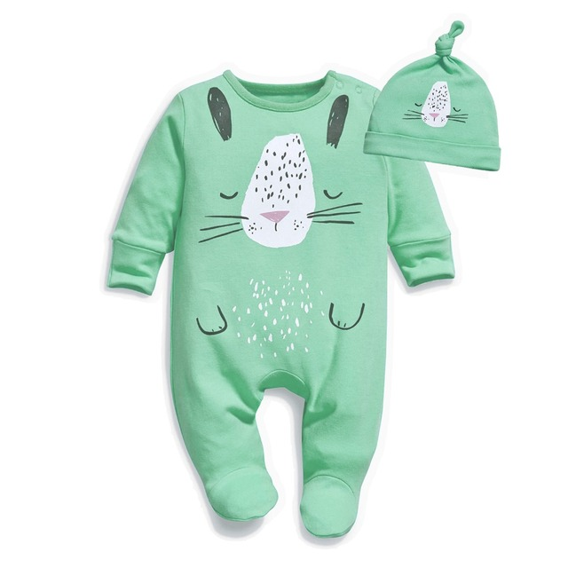 Baby Boys Girls Tiger Cat Lion Animals Cartoon Footed Jumpsuit Romper Onesies with Hat 3