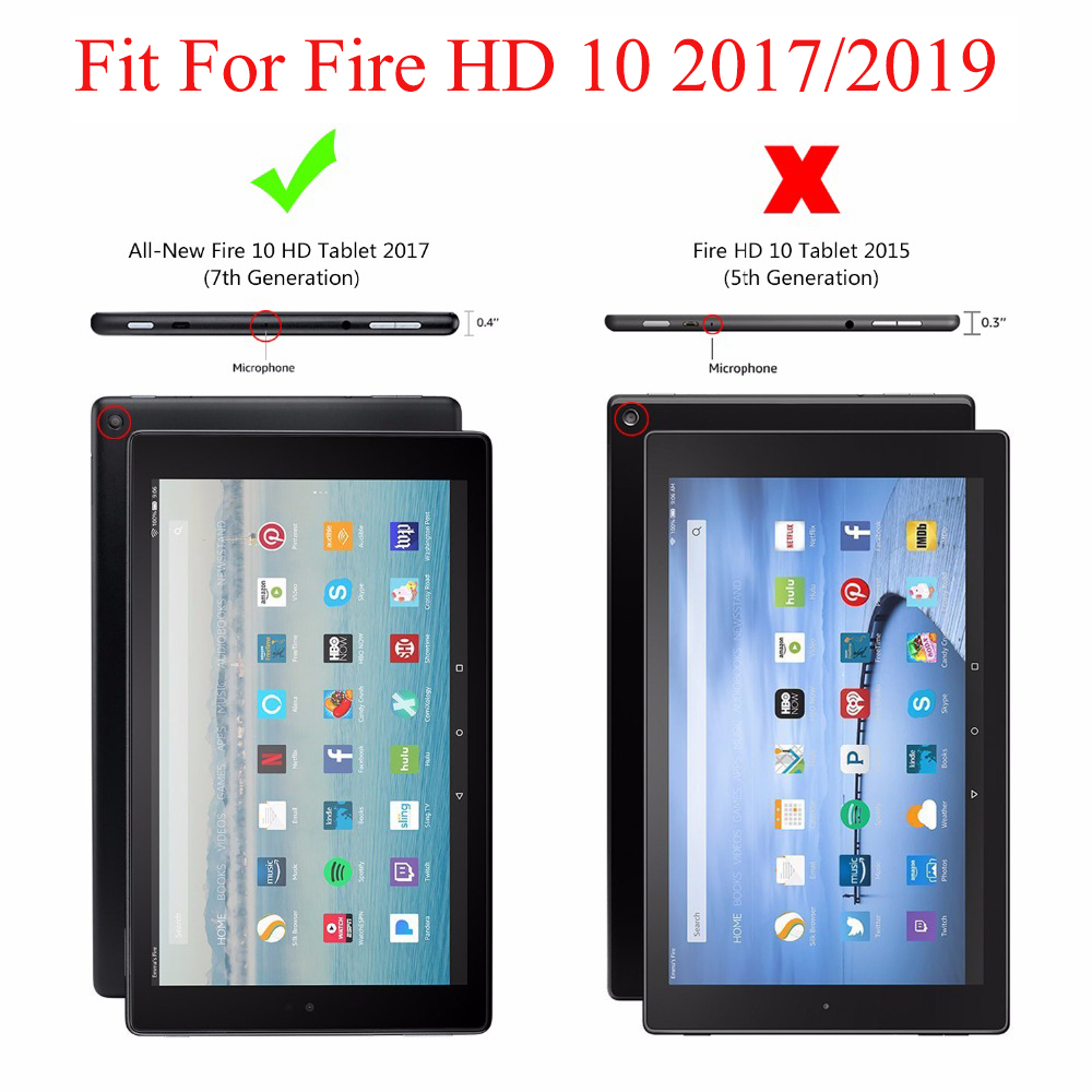 Kindle Case For Amazon Fire HD 10 2019 2017 Cover Wake Sleep Flip Leather Stand Funda Screen Protector+Stylus