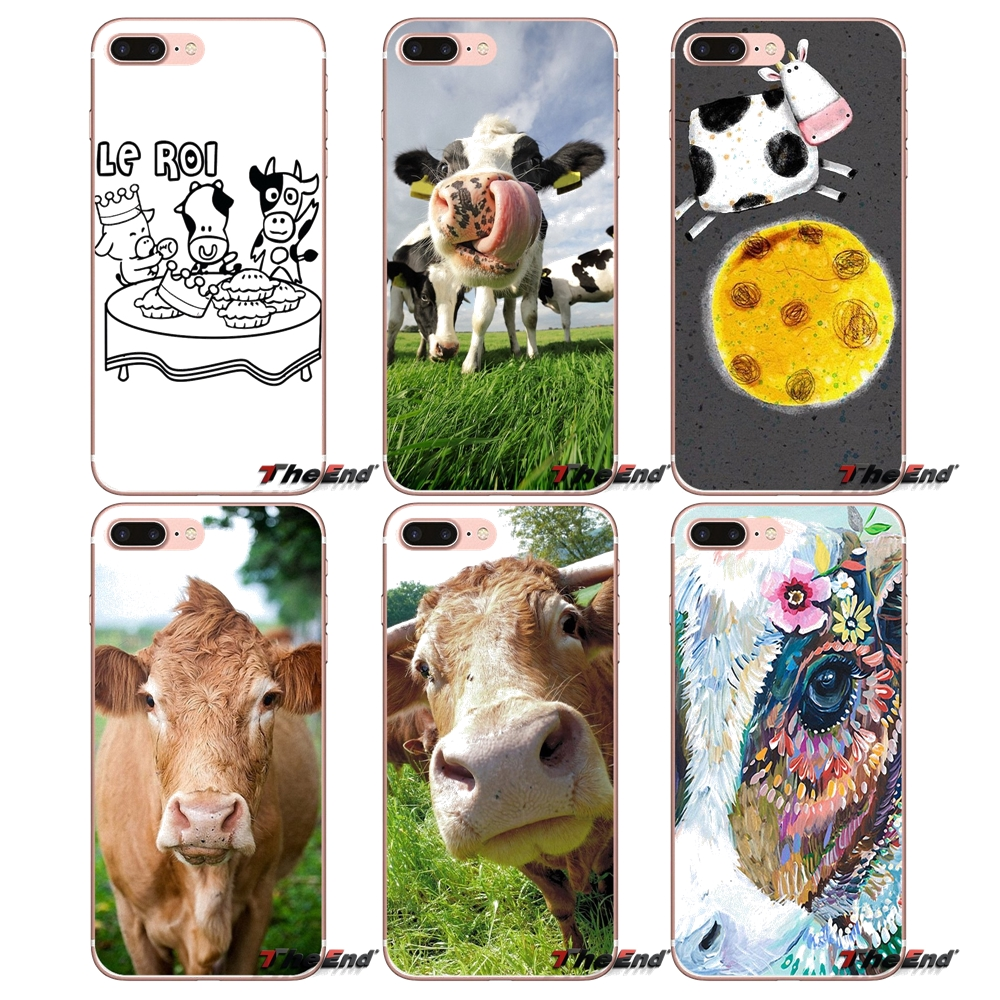 For Sony Xperia M2 M4 M5 E3 T3 XA Z Z1 Z2 Z3 Z5 compact LG G4 G5 G3 G2 Mini Transparent Soft Cases Covers Cute Funny cow