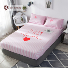 Liv-Esthete Love Pink 100% Cotton Striped Fitted Sheet Sweet Mattress Cover Bed Linen Bed Sheet On Elastic Band For Adult Kids bruder машинка bruder мусоровоз scania