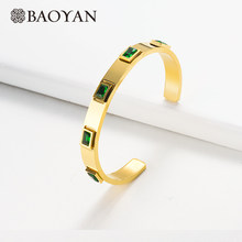 Baoyan Gold/Silver Stainless Steel Bangles Fashion Green Red White Crystal Bangle Luxury Golden Cuff Bangles Bracelets For Women(China)