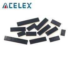 10 Uds 2,54mm recto fila única hembra tira de conectores de pines conector de PCB * 1*2/3/4/5/6/7/8/10/12/16/20/40 Pin