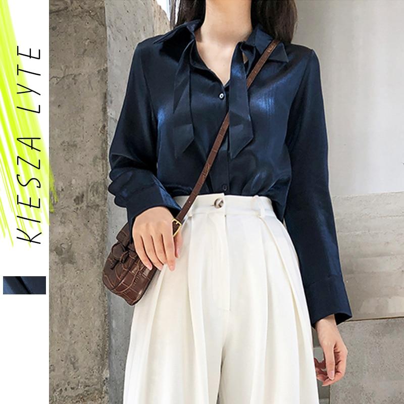 Vintage Blue Satin Blouse for Women 2021 Spring Fashion Elegant Long Sleeves Shirt Top Femme High Quality