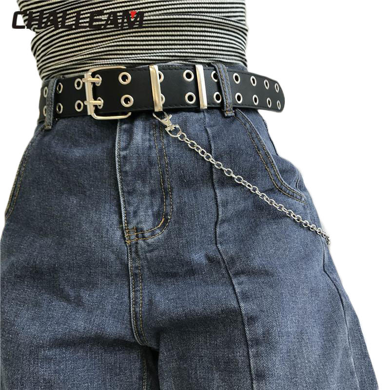 Female Punk Fashion Trousers Pin Buckle Black Willow Nail Waist Full Grommet Belts Men Women PU Leather Belt For Jeans 152