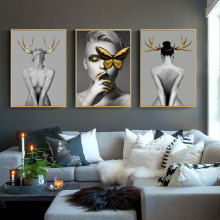 Abstract Wall Art Pictures Fashion Woman butterfly Lips Gold And Golden antler Modern Home Canvas Painting Beauty Decor Posters