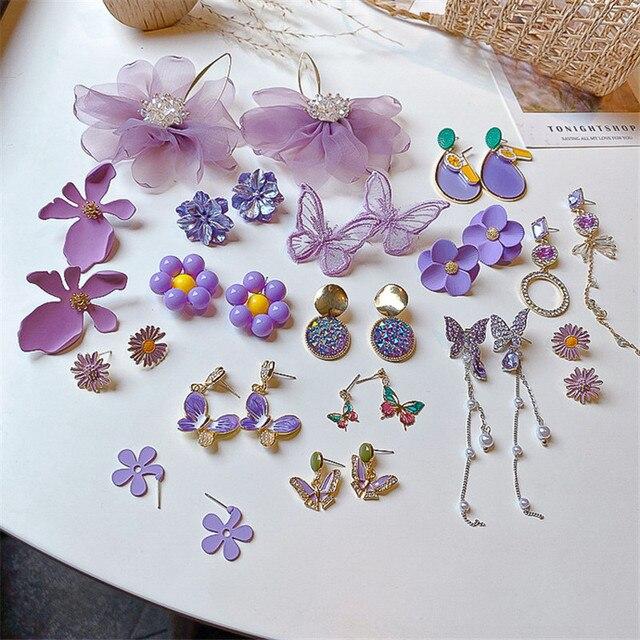 Stud Earrings Lovely Hook Cute Enamel Dangle Drop Women Fashion Purple Flower