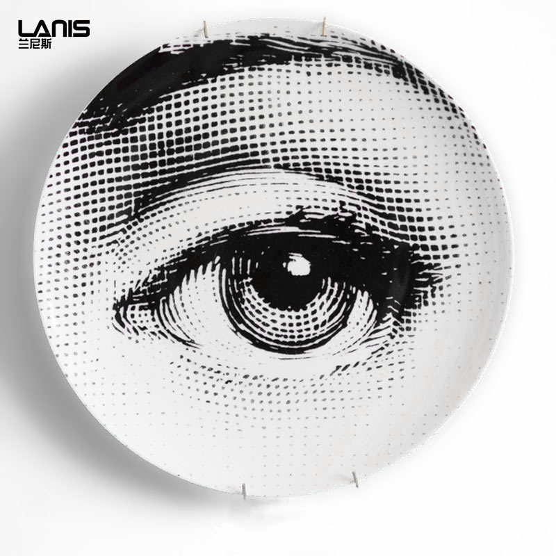 European Decor Fornasetti 10-Inch Plate Home Porcelain Artwork Ornaments Dishes Decorative Plates For Wall Hanging