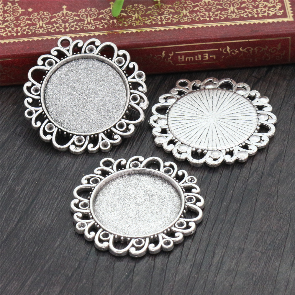 New Fashion  3pcs 25mm Inner Size Antique Silver Plated Vintage Style  Cabochon Base Setting Charms Pendant (A3-10)