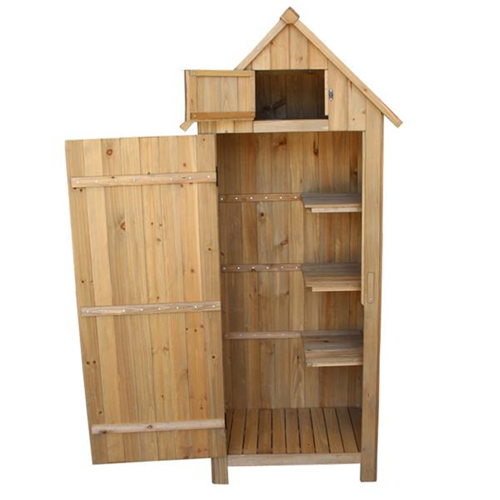 Suministros para gatos cobertizo de flecha de madera de abeto con una sola puerta cobertizo de jardín de madera casilleros de madera Color de madera Casa de gato hogar