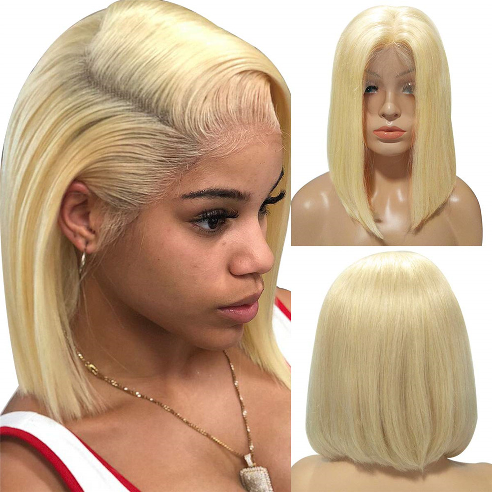 Blonde 613 Bob Lace Front Wigs Human Hair Gluless Silky Straight 13x4 Ombre Colored Green Gray Blue For Women 130% Density Remy