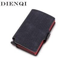 Dienqi fibra de carbono titular do cartão carteiras homens marca couro mini fino carteira saco dinheiro metal rfid feminino fino pequeno vallet inteligente