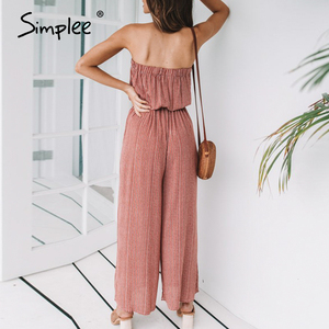 Image 5 - Simplee Off shoulder sexy jumpsuit women elegant Sashes jumpsuit long rompers Summer solid leopard print overalls playsuit 2019