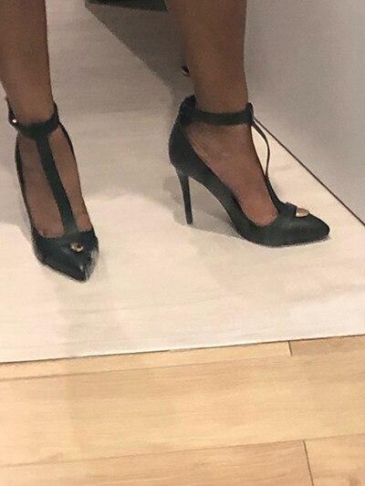 Туфли лодочки на шпильке с Т образным ремешком и острым носком; женская обувь на тонком высоком каблуке - 6