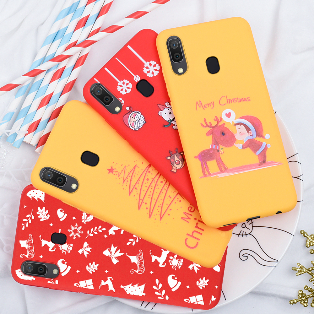 Fashion Red Silicone <font><b>Case</b></font> For Samsung Galaxy A70 <font><b>Case</b></font> Merry Christmas Pattern Cover for Galaxy A7 2018 <font><b>A50</b></font> A60 A40 A30 A10 Capa image