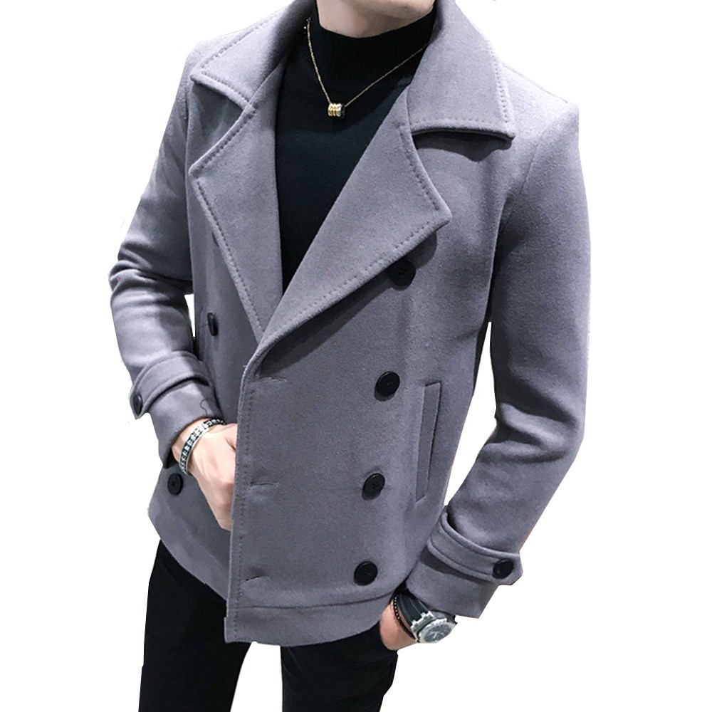 New Autumn and Winter Men's Short Wool Coat Double-breasted Design Business Casual Men's Warm Coat Trench Coat Plus Size 5XL