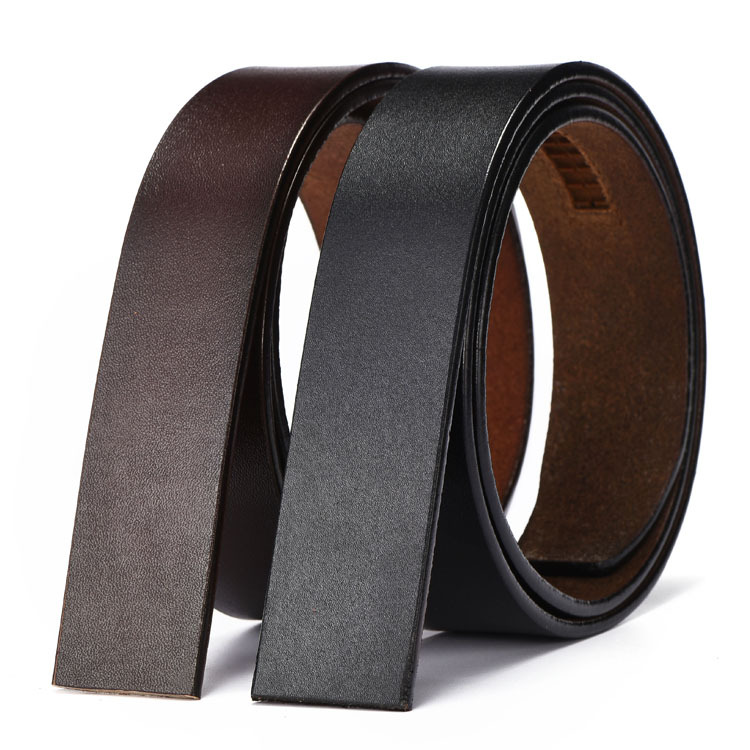 Casual Belts No Buckle 3.5cm Wide Cowskin Real Genuine Leather Belt Body Men Belt Without Buckle Strap Black Brown 110-130cm