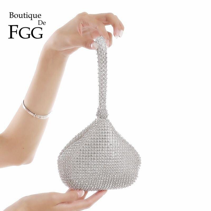 Boutique De FGG Sparkling Silver Diamond Women Mini Evening Clutch Wristlets Bag Bridal Wedding Party Crystal Handbag And Purse