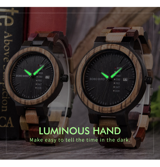 BOBO BIRD Wood  Couple Watch Set 3