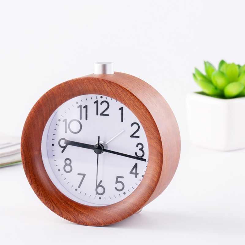 Reloj con alarma de madera, luz de noche de dormitorio, pantalla LED, espejo, reloj Digital con temperatura, Mesa Electrónica, Control de sonido, reloj Digital