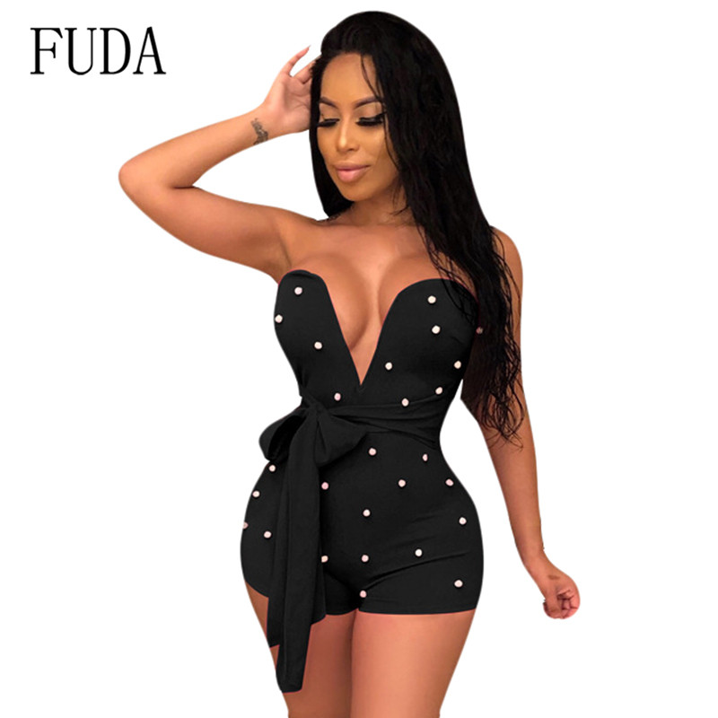 FUDA Sexy Beading Short Romper Women Bandage Bodycon Jumpsuits Deep V Strapless Off Shoulder Slim Nightclub Clothing Playsuits