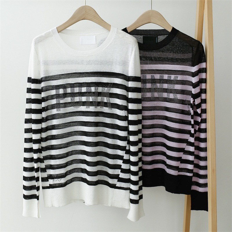 Women Sweater Striped Alphabet Hot Drill Breathable Linen Sweater Women Thin Section Loose Round Neck Long Sleeve
