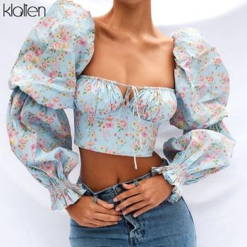 KLALIEN Spring Summer Fashion Elegant French Romantic Floral Puff Sleeve Square Collar Women Blouses New White Chiffon Shirt 1