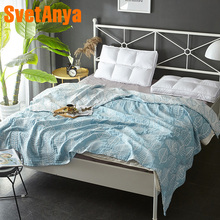 Nordic Blue Leaves Thread Towel Blankets Summer Knitted Quilt 150x200cm/200x230cm Cotton Fabric Air-Condition Nap