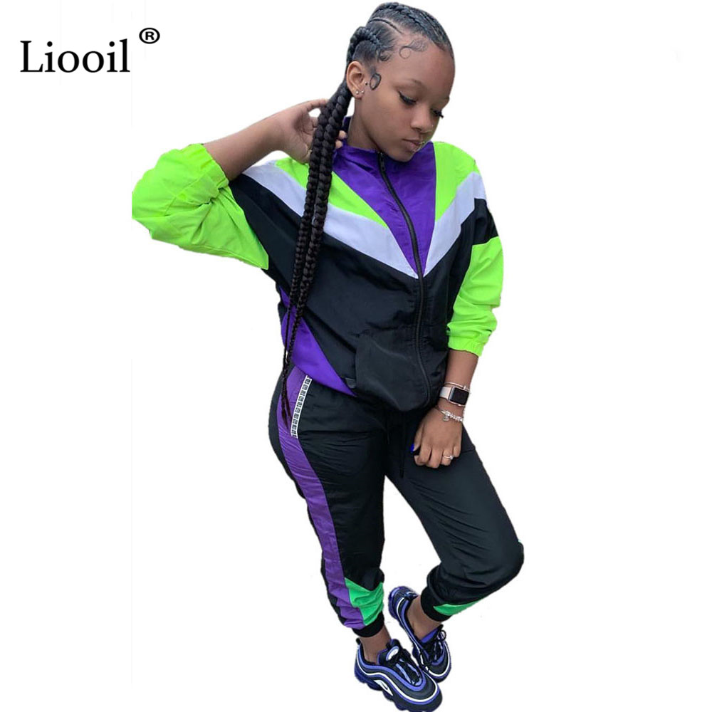 Liooil Color Block Tracksuit Women Two Piece Outfits Set Autumn Winter Long Sleeve Zip Up Sexy Coat And Sweatpants With Pockets