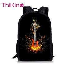 Thikin School Bags for Boys Fire Guitar Backpack Kids Supplies Student Shoulder Bag Children Mochila