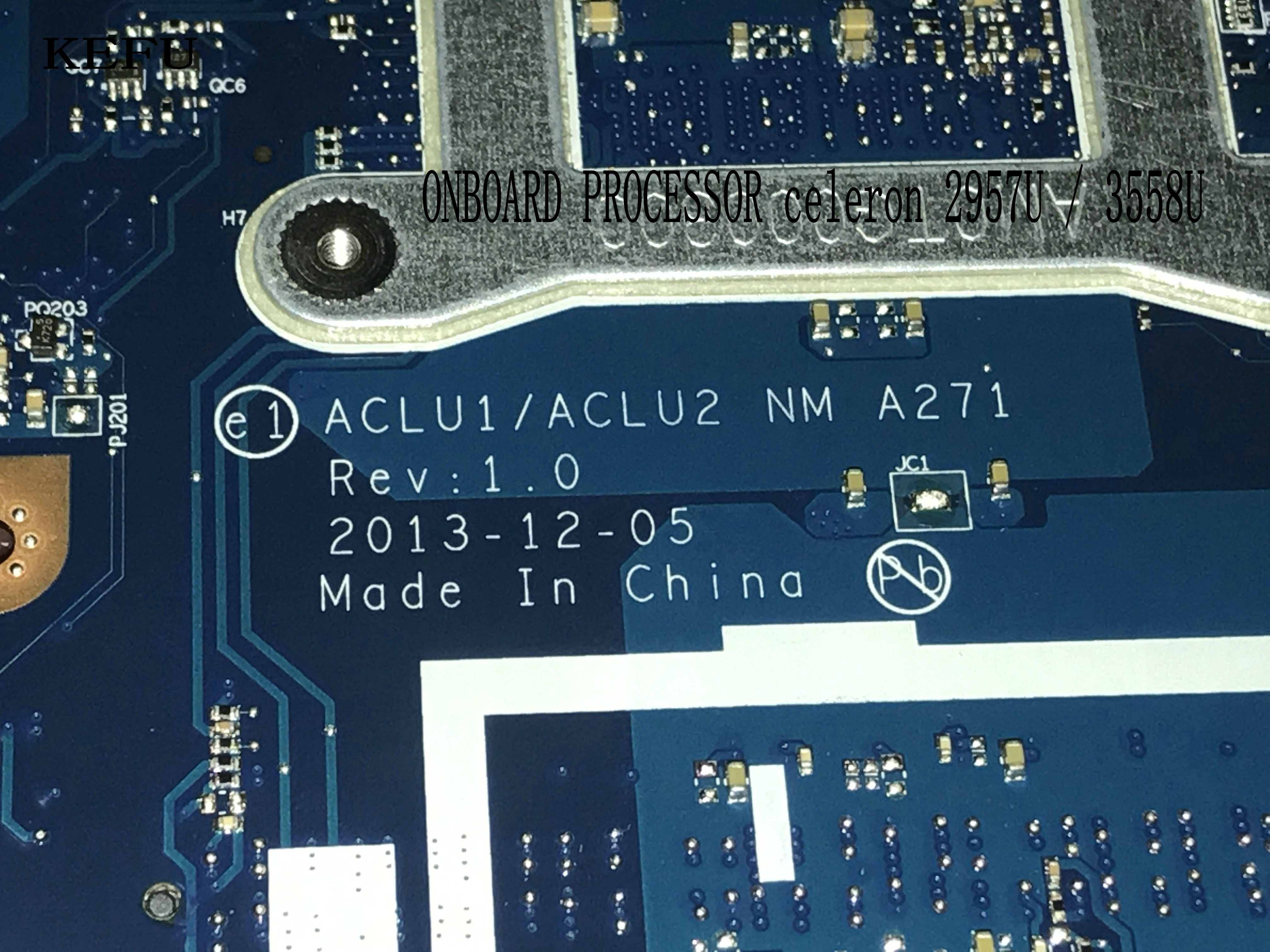 KEFU STOCK  ,ACLU1/ ACLU2 NM A271 For LENOVO G50-70 Laptop Motherboard ,PROCESSOR  3558U +VIDEO CARD ( NEW ITEM )