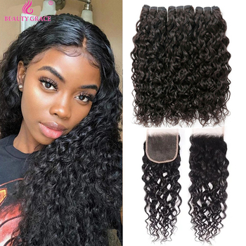 Beauty Grace Water Wave Bundles With Closure Human Hair Bundles With Closure Brazilian Hair Weave Bundles Remy Hair Extension yyong straight hair bundles with closure brazilian hair weave 3 bundles remy human hair bundles with closure hair extension