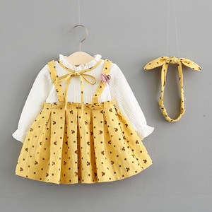 Image 4 - Baby Girl Dress Cotton Print Bow Princess Dress With Baby Headbands 2pcs Clothes Set Birthday Party Dress Infant Clothes