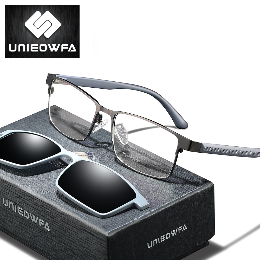 UNIEOWFA 2 In 1 Magnetic Clip On Glasses Frame Men Polarized Sunglasses Optical Myopia Degree Prescription Eyeglasses Frame TR90