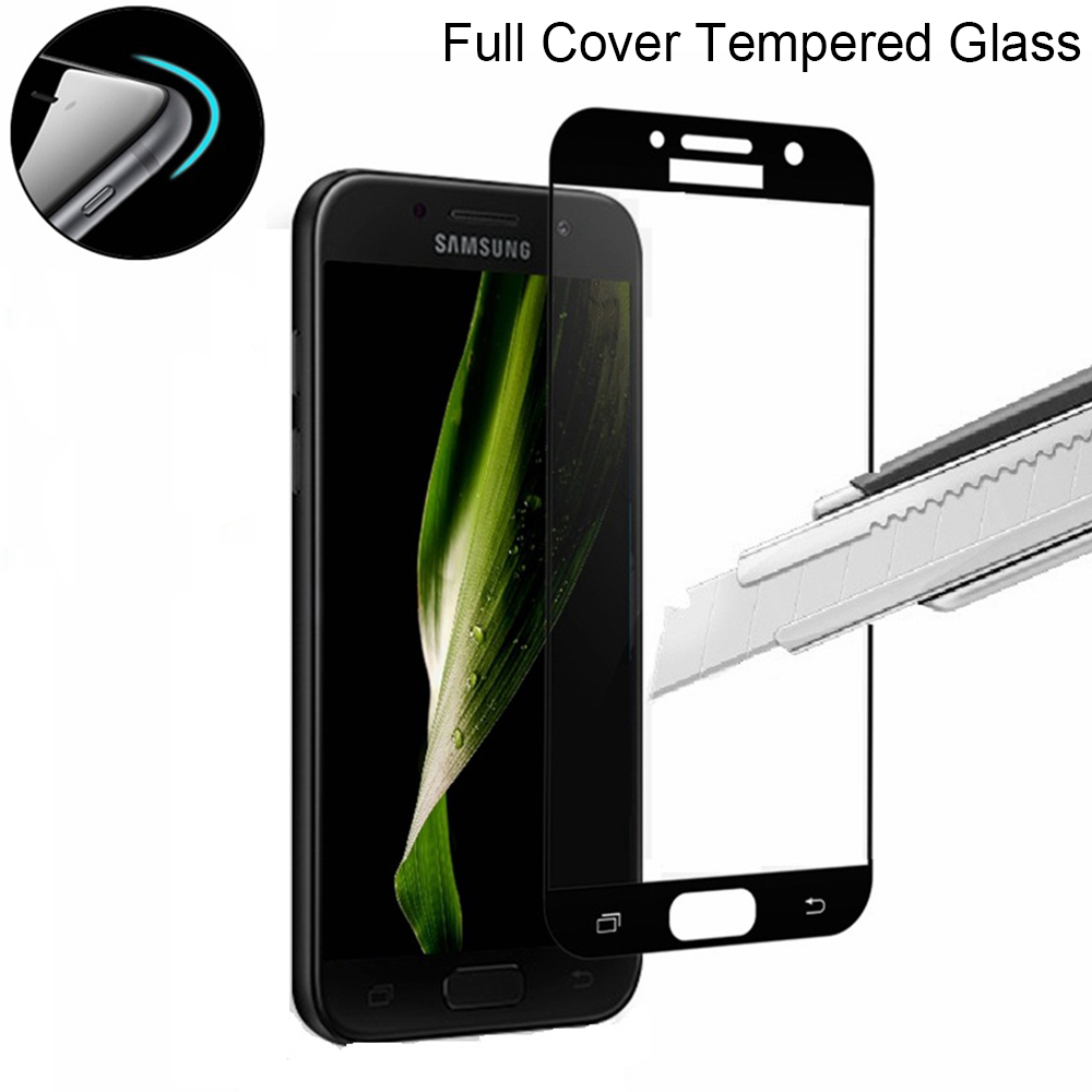 9H 0.3mm Black Tempered Protective Glass For Samsung Galaxy S7 A3 A5 A7 2016 2017 Screen Protector Film On Samsung J3 J5 J7