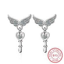 Серьги гвоздики с ангельскими крыльями из стерлингового серебра