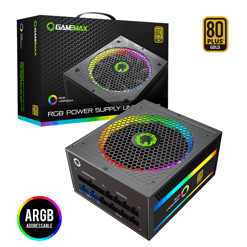 GameMax 1050W Power Supply Fully Modular 80+ Gold Certified with Addressable RGB Light - Vairous Color Mode, RGB-1050-Rainbow 6