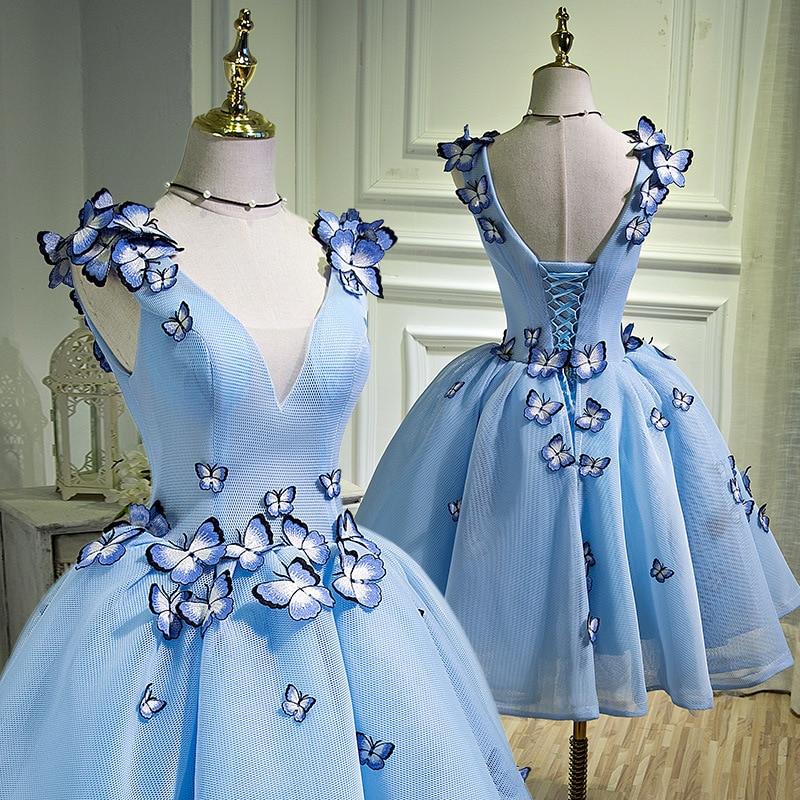 BacklakeGirls 2019 New Arrival 3D Flower Sexy Prom Dress Elegant Short V Neck Appliques Graduation Party Gowns Banquet Sukienka