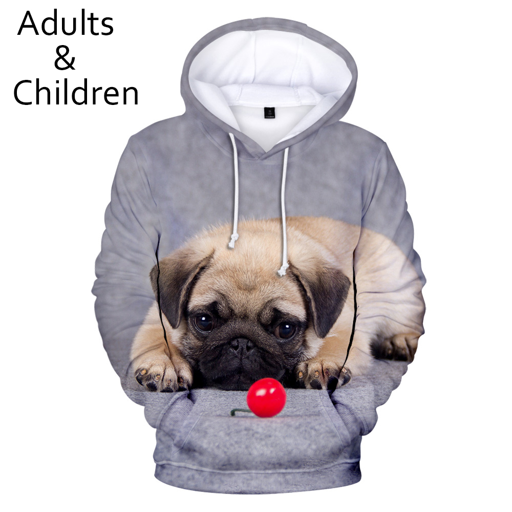 Fashion 3D Pug Hoodies Men Women Sweatshirts Harajuku Kids Hoodie Pullover Hot Autumn 3D Pug Hooded Casual Boys Girls Streetwear