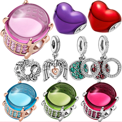 HOT 2021 New 925 Sterling Silver Beads Valentine's Day Charms Fit Original Pandora Bracelet DIY Jewelry Gift