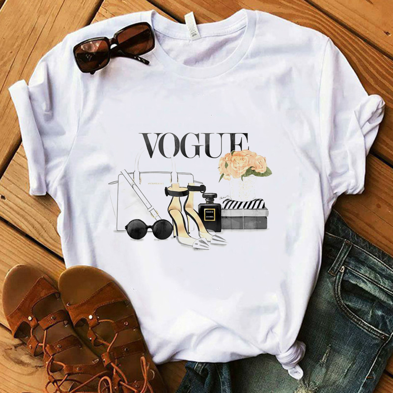 Vogue T Shirt Women Make Up High Heel Lipstick Floral T-Shirt 100% Cotton Summer Shirt Lady Streetwear Luxury T-shirts
