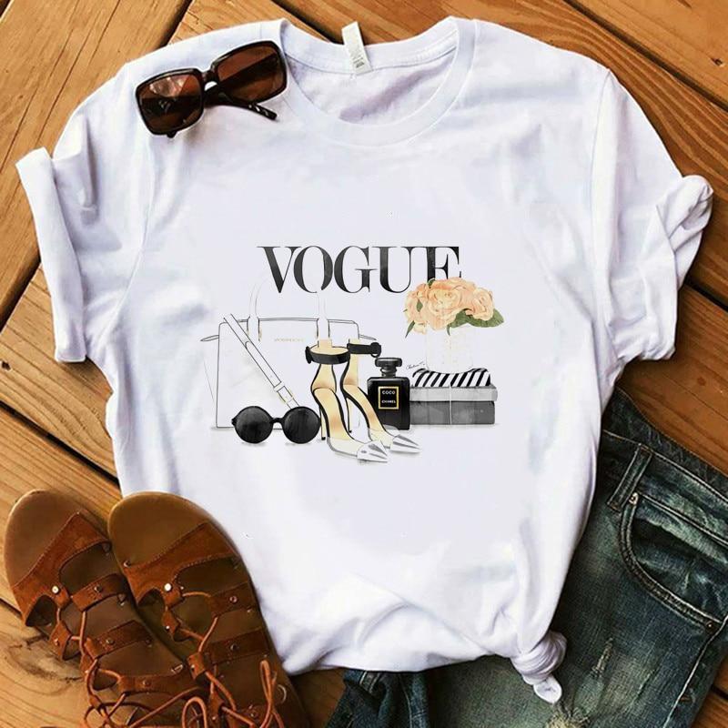 Vogue T Shirt Women Make Up High Heel Lipstick Floral T-Shirt Summer Shirt Lady Streetwear Luxury T-shirts