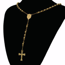 Two Tone Gold color Necklace Jewelry Women Men Wedding Fashion Cross Long Bead Pendant Necklace Christmas Gift(China)