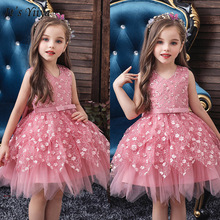 To YiiYa kwiatowe sukienki dla dziewczynek dla dziewczynek dekolt eleganckie sukienki na przyjęcie dla dzieci aplikacje łuk krótka suknia ślubna 190 tanie tanio it s yiiya Kostek Suknia balowa V-neck Bez rękawów Tulle Łuk Koronki Zbiornik
