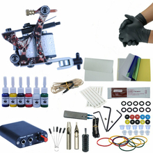Complete 1 Tattoo Machine Gun 6 Colors Pigment Inks Sets Power Supply Set Starter Tattoo Kits  Body Art Tools Sets недорого