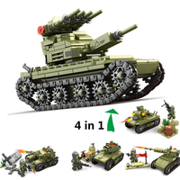 632pcs 84055 4in1 Military Army Field Forces Tank Car Building Blocks Set DIY Bricks Models Educational Toys for children Gift
