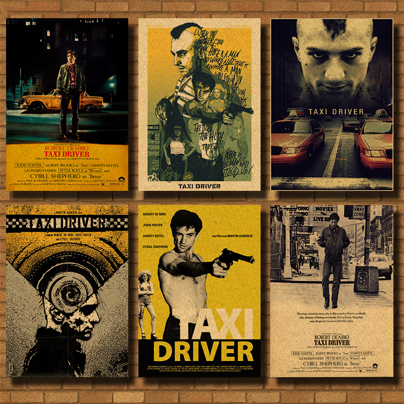 Home Wall Art Print TAXI DRIVER A4,A3,A2,A1 Vintage Movie Film Poster