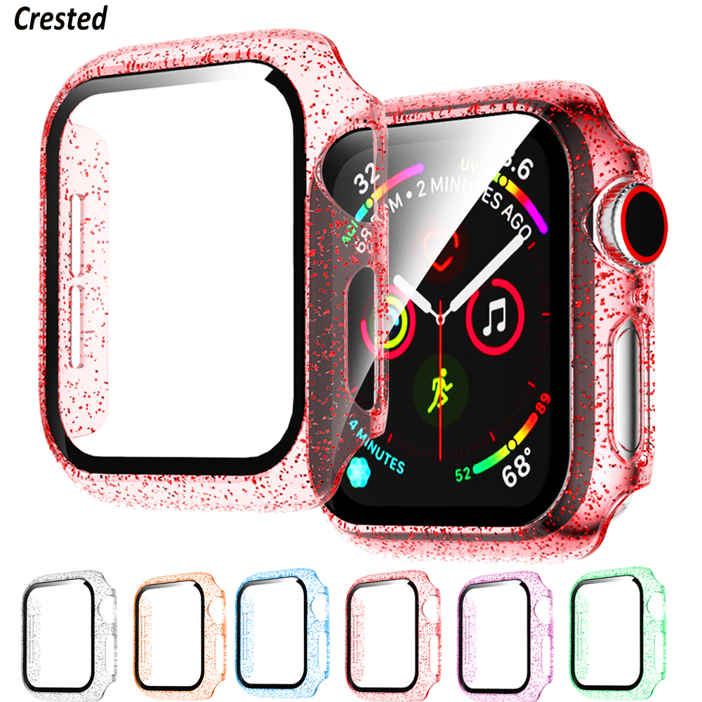 Glass+Cover For Apple Watch case 44mm 40mm 42mm 38mm Accessories Jelly bumper iWatch Screen Protector apple watch series 5 4 3