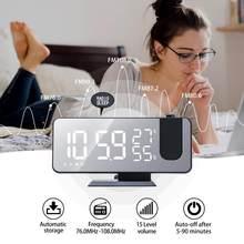 Cyfrowy budzik LED Radio z budzikiem projekcja z temperaturą wilgotność lustro zegar nocny wyświetlacz lustro zegar projekcyjny