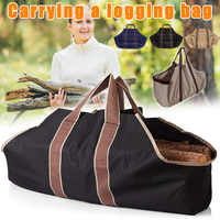Canvas Firewood Log Tote Bag Storage Package Carriers for Fireplace Birchwood FDX99