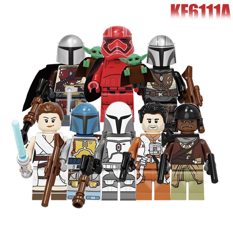 Building Blocks Space Yoda Baby Darth Vader Rey PoE Dameron Mandalorian Jango Fett Drabatan Figures For Children Toys KF6111A
